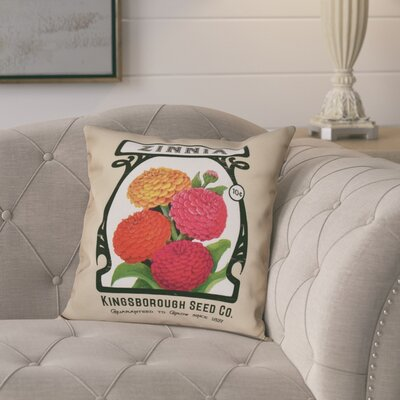 Swan Valley Zinnia Floral Outdoor Throw Pillow Size: 20 H x 20 W, Color: Taupe