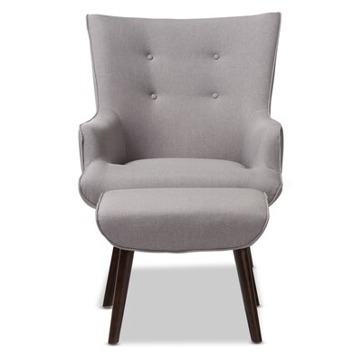 Crantor Lounge Chair and Ottoman Upholstery: Light Gray