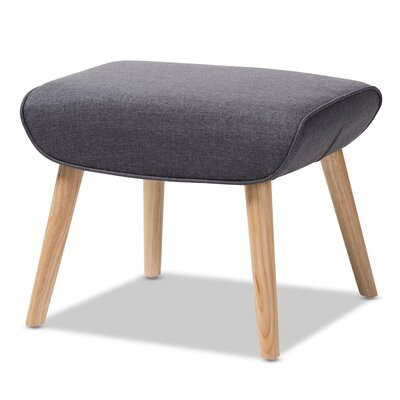 Coughlin Mid-Century Ottoman Upholstery: Light Gray, Color: Natural