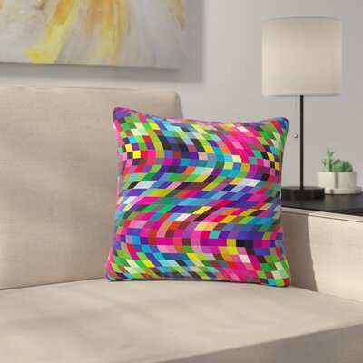 Dawid Roc Colorful Geometric Movement  Abstract Outdoor Throw Pillow Size: 18 H x 18 W x 5 D, Color: Blue/Pink
