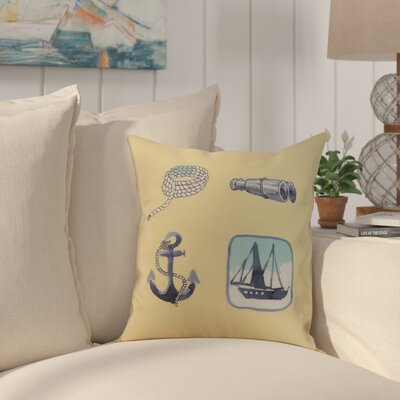 Crider Sea Tools Print Indoor/Outdoor Throw Pillow Color: Yellow, Size: 16 x 16