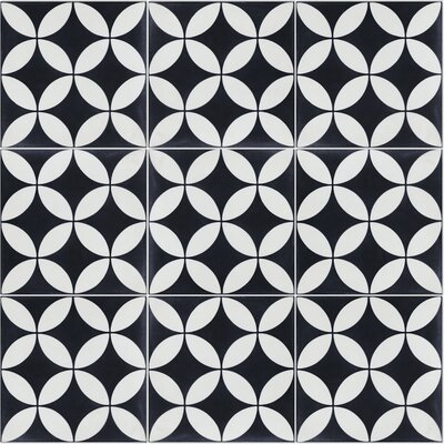 Circulos B Evening 8 x 8 Cement Field Tile in Black/White