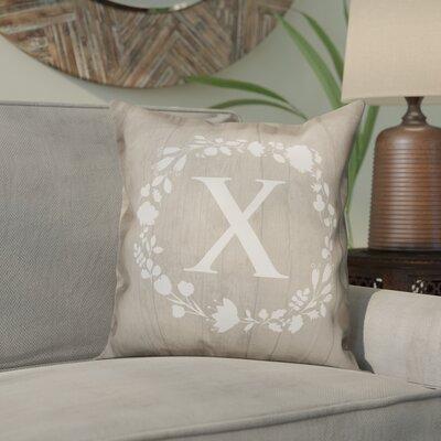 Orme Wreath Monogram Throw Pillow Letter: X