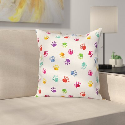 Cute Animal Footprints Square Pillow Cover Size: 16 x 16