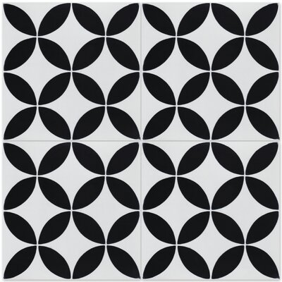 Circulos B Morning 8 x 8 Cement Field Tile in Black/White
