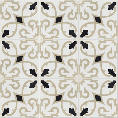 Charlotte Primero 8 x 8 Cement Field Tile in Off-White/Black