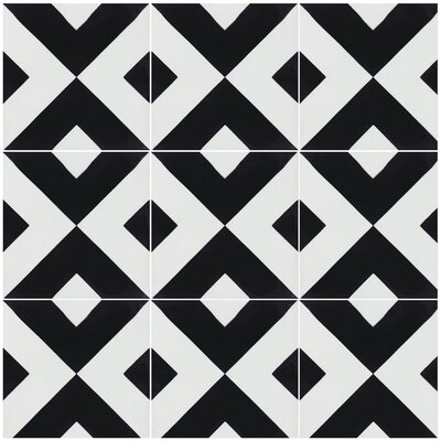 Charge 8 x 8 Cement Field Tile in Black/White