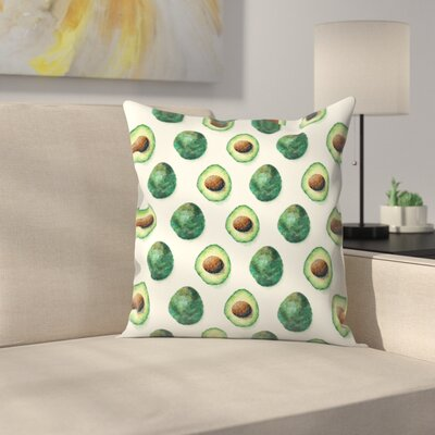 Avocado Pattern Throw Pillow Size: 20 x 20