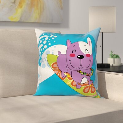 Cartoon Bulldog Square Cushion Pillow Cover Size: 20 x 20