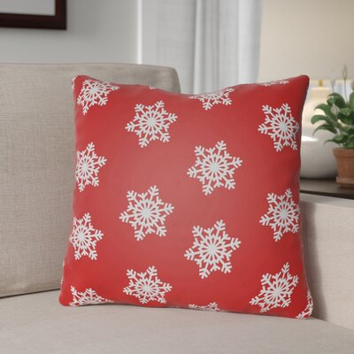 Snowflake Indoor/Outdoor Throw Pillow Size: 18 H x 18 W x 4 D, Color: Red / White