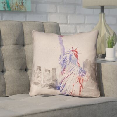 Houck Watercolor Statue of Liberty Outdoor Waterproof Throw Pillow Size: 20 H x 20 W
