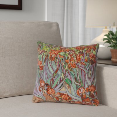 Morley Irises Double Sided Print Square Pillow Cover Size: 18 x 18, Color: Orange
