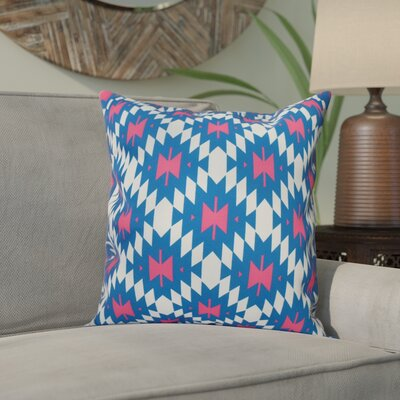 Willa Jodhpur Kilim 2 Geometric Outdoor Throw Pillow Size: 18 H x 18 W, Color: Blue