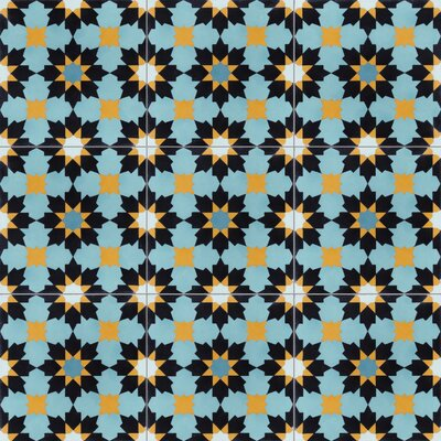 Casablanca 8 x 8 Cement Field Tile in Blue/Yellow/Black