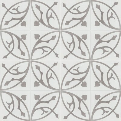 Boden H 8 x 8 Cement Field Tile in White/Gray