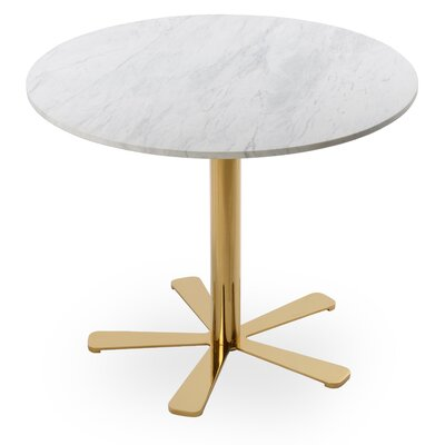 Daisy Marble Dining Table Size: 29.5 H x 35.5 W x 35.5 D, Base Color: Gold
