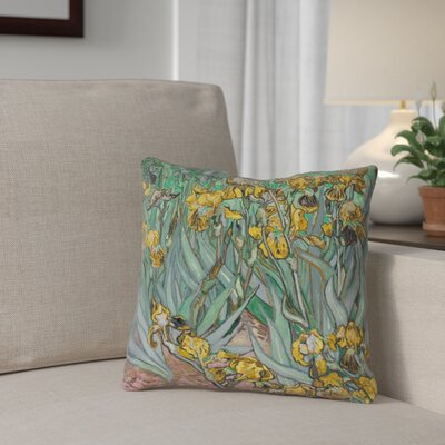 Bristol Woods Irises Square Pillow Cover Color: Yellow, Size: 14 x 14