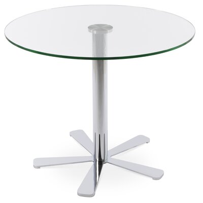 Daisy Glass Dining Table Size: 29.5 H x 28 W x 28 D, Base Color: Chrome