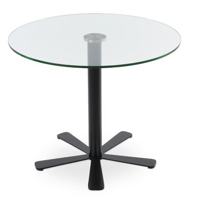 Daisy Glass Dining Table Size: 29.5 H x 35.5 W x 35.5 D, Base Color: Black