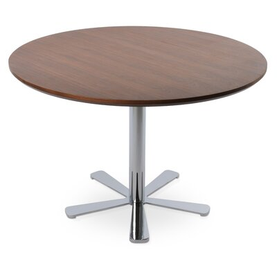 Daisy Dining Table Size: 29.5 H x 35.5 W x 35.5 D, Base Color: Chrome, Top Color: White Lacquer