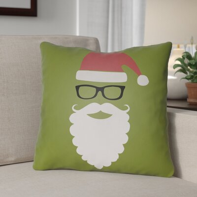 Cool Santa Outdoor Throw Pillow Size: 20 H x 20 W x 4 D, Color: Green / Red / Black / White