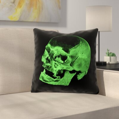 Waterproof Skull Throw Pillow Color: Green/Black, Size: 20 x 20