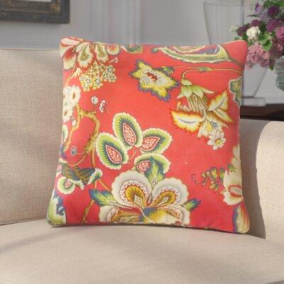 Basilio Floral Cotton Throw Pillow Color: Garnet