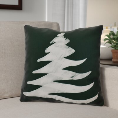 Decorative Christmas Tree Print Outdoor Throw Pillow Size: 20 H x 20 W, Color: Dark Green