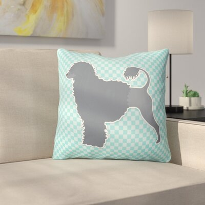 Portuguese Water Dog Square Indoor/Outdoor Throw Pillow Size: 18 H x 18 W x 3 D, Color: Blue