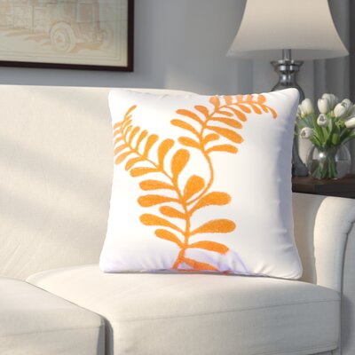 Craig Embroidered Cotton Throw Pillow (Set of 2) Color: Orange