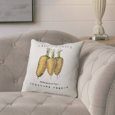 Alvarie Carrots Throw Pillow Size: 16 H x 16 W x 4 D, Color: Orange/ Green/ Ivory/ Black
