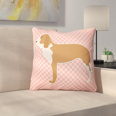 Spanish Hound Indoor/Outdoor Throw Pillow Size: 14 H x 14 W x 3 D, Color: Pink