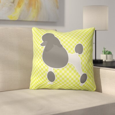 Poodle Square Indoor/Outdoor Throw Pillow Size: 14 H x 14 W x 3 D, Color: Green