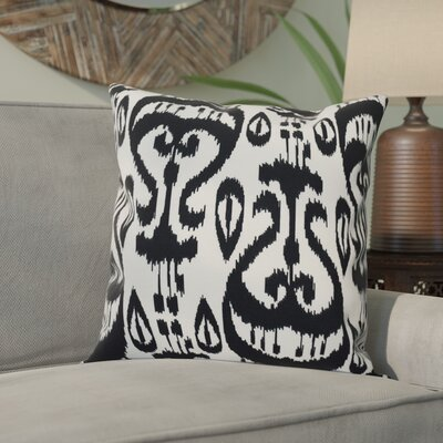 Sabrina Ikat Geometric Outdoor Throw Pillow Size: 18 H x 18 W, Color: Black