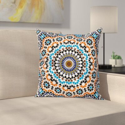 Vintage Moroccan Ceramic Tile Square Pillow Cover Size: 16 x 16