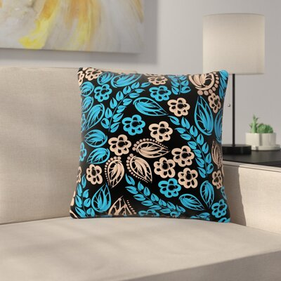 Maria Bazarova Blue Flowers Floral Outdoor Throw Pillow Color: Black, Size: 16 H x 16 W x 5 D