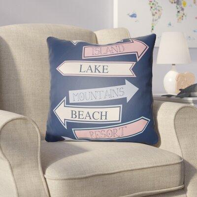 Collie Blue/Pink Throw Pillow Size: 20 H x 20 W x 4 D