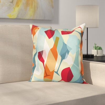 Wine Modern Art Icons Square Pillow Cover Size: 18 x 18