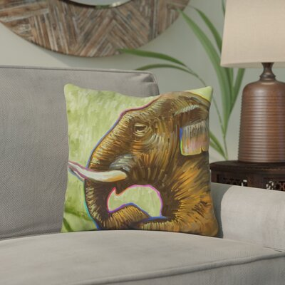 Edelen Elephant Pop Profile Throw Pillow