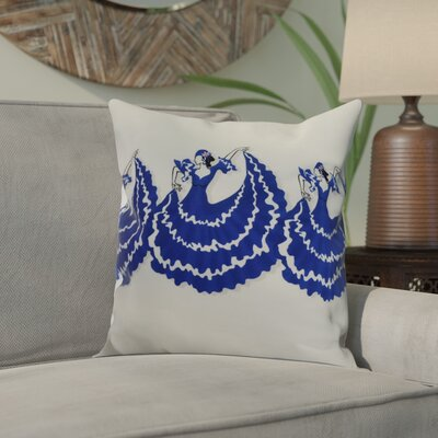 Drucker Dancers Throw Pillow Color: Royal Blue, Size: 18 x 18