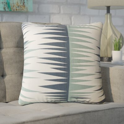 Wetzel Geometric Down Filled 100% Cotton Throw Pillow Size: 18 x 18, Color: Blue
