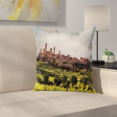 Medieval City in Italy Square Pillow Cover Size: 24 x 24