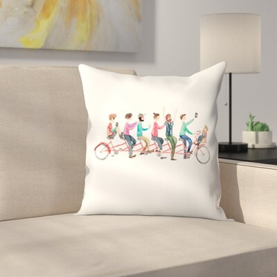 Elena ONeill Bike Ride Throw Pillow Size: 14 x 14