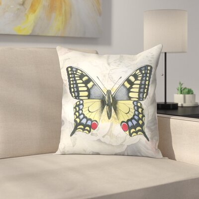 Swallowtail White Peony Throw Pillow Size: 18 x 18
