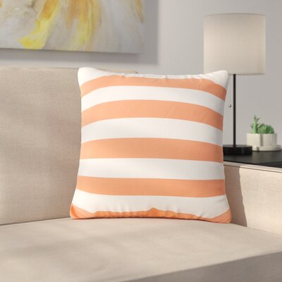 Mayne Square Striped Outdoor Throw Pillow Color: Orange/White