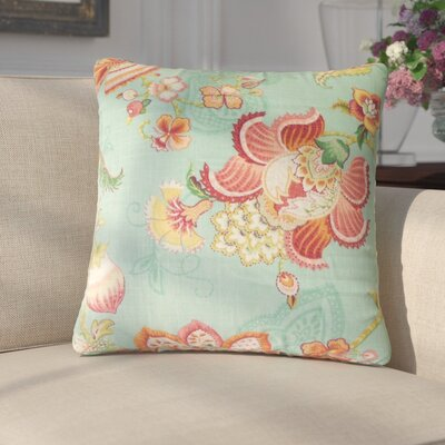 Guilaine Floral Linen Throw Pillow Color: Caribbean
