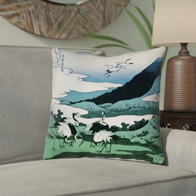 Montreal Japanese Cranes 100% Cotton Throw Pillow Size: 18 x 18 , Pillow Cover Color: Blue/Green