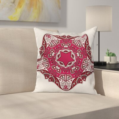 Tribal Maroon Mandala Asian Square Pillow Cover Size: 18 x 18