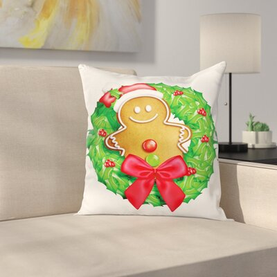 Gingerbread Man Xmas Wreath Square Pillow Cover Size: 18 x 18