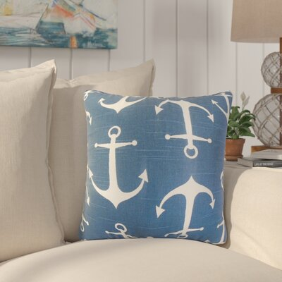Jorie Coastal Cotton Throw Pillow Cover Color: Blue